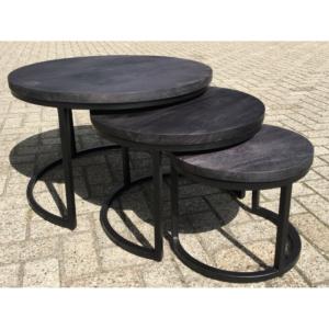 Salontafel set van 3 mangohout zwart